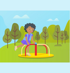 amusement park carousel kid playing on nature vector image