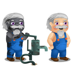 Animated male workman with coverall and broken vector