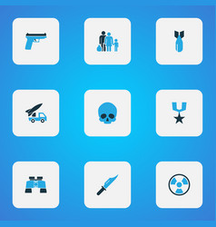 battle icons colored set with fugitive armored vector image