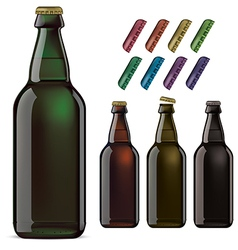 Beer bottles and covers vector