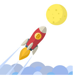 bitcoin coin rocket flying go to moon cartoon vector image
