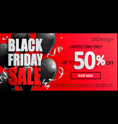 black friday sale banner inviting to shopping vector image