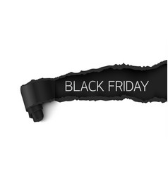 Black friday sale banner realistic torn paper vector
