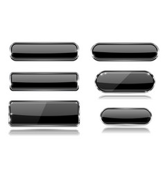 Black glass buttons with metal frame set of 3d vector