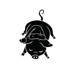 Black with white outline sleeping pig with a hat vector