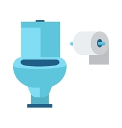 Blue toilet roll and soft white paper cartoon flat vector image