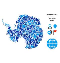 Blue triangle antarctica map vector