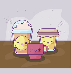 Bottle honey with delicious food kawaii vector