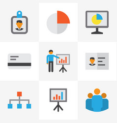 Business flat icons set collection of statistics vector