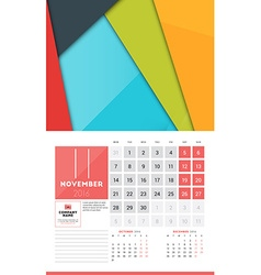 Calendar for 2016 Year November Design Clean vector
