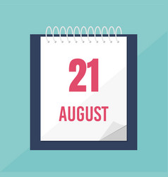Calendar icon 21 august time management vector