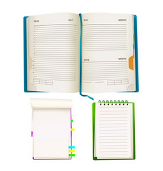 cartoon notepad and notebooks set vector image