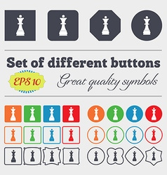 Chess Queen icon sign Big set of colorful diverse vector