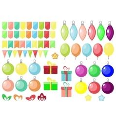 Christmas and New year set gift boxball balloon vector image