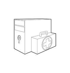 Computer system unit first aid icon outline style vector