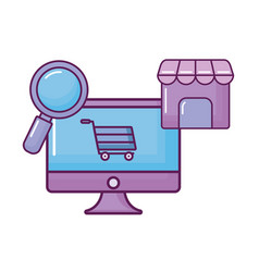 computer with magnifying and shopping icons vector image