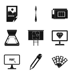 corporate network icons set simple style vector image
