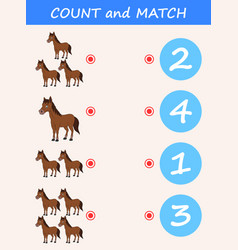 Count and match horse cartoon vector