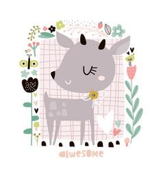 cute cartoon deer in floral frame in scandinavian vector image