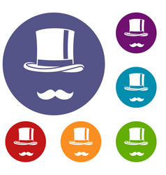 Cylinder and moustaches icons set vector
