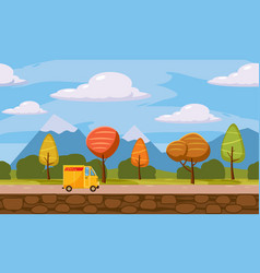 delivery transportation truck autumn landscape vector image