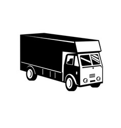 delivery van viewed from a high angle retro black vector image
