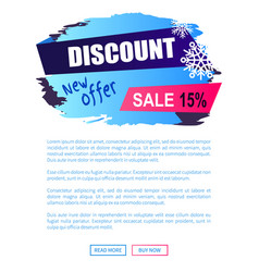 discount new offer -15 sale winter label snowball vector image
