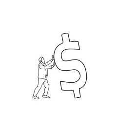 doodle business man pushing dollar sign up finance vector image