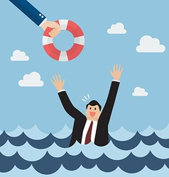 Drowning businessman screaming for help vector image