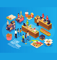 fast food isometric design concept vector image
