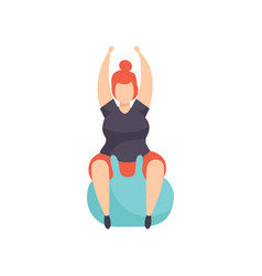Fat girl exercising on a fitbal obesity woman vector