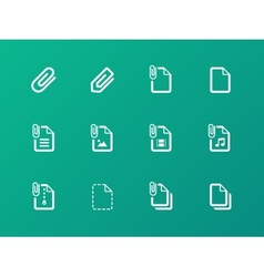 File Clip icons on green background vector image