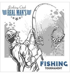 Fisherman and fish - vintage plus vector