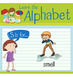Flashcard letter s is for smell vector