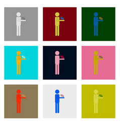 Flat assembly icons of stick figure human vector