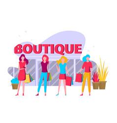 flat fashion shopping girls set vector image