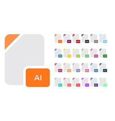 flat file format icons audio video image vector image