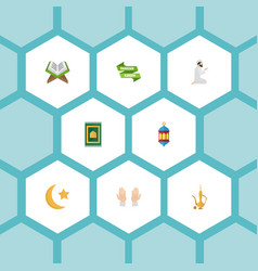 Flat icons prayer carpet ramadan kareem holy vector