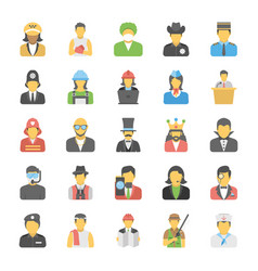 flat icons set of professions vector image