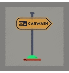 Flat shading style icon car wash sign vector