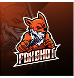Fox shot esport logo design vector