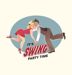 funny couple dancing swing vector image