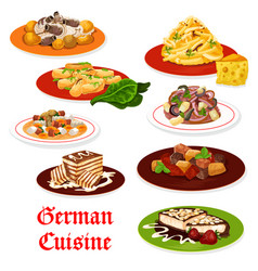 german cuisine meat dishes and desserts vector image