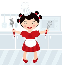 Girl cooking in kitchen vector