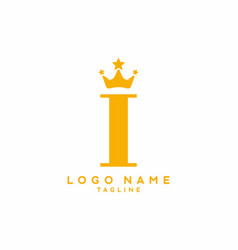 gold i initial letter with crown logo vector image