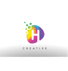 h colorful logo design shape purple abstract vector image