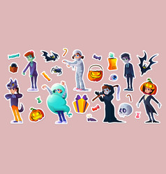 halloween stickers with people in scary costumes vector image