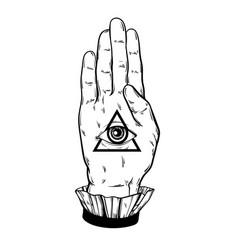 Hand drawn witch all seeing eye vector