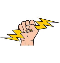 Hand holding lightning bolt vector