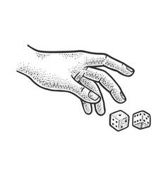 Hand rolls dice sketch vector